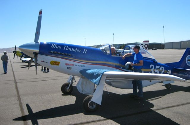 Pilot John Parker gets ready to fly his Thunder Mustang at Stead Airport in advance of the Reno Air Races Rookie School